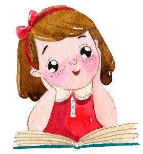 Mädchen liest gute Geschichte